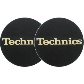 2x Slipmats - Technics - Black Logo Gold