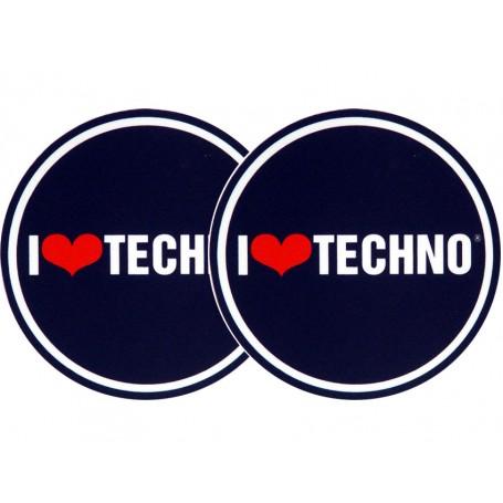Panni Antistatici Per Giradischi.2x Slipmats I Love Techno